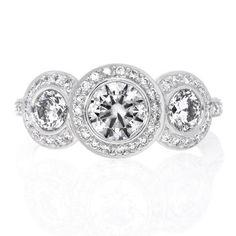 Platinum Three Stone Halo Bezel Set Diamond Engagement Ring