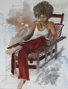Woman Reading, 2009, acrylic, 36 x 48