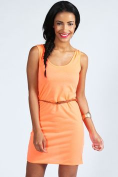 Neon Colors For Hot Summer 2013, Kirsten Neon Belted Racer Back Bodycon
