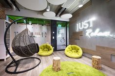 BIT CREATIVE Barnaba Grzelecki were engaged by Vivus, a fintech company, to design their offices located in Warsaw, Poland. New Interior Design, Room Interior, Chill Out Room, Modern Office Design, Workplace Design, Supply Room, Startup Office, Cool Office Space, Office Lounge