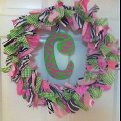 Fabric baby door wreath my-creations