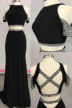 Upd0204, Charming Prom Dress ,Two Piece Prom Dress,Black Chiffon Prom Dress,Evening Dress