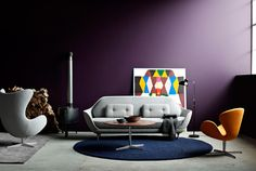 Modern seating area. Designed by Haime Hayon for Fritz Hansen.