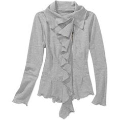 Women's French Terry Ruffle Front Jacket. I love that this looks great and is so affordable! Who doesn't love ruffles? #southernsaverscontest