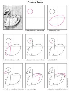 Here's my Swan Tutorial in my new PDF format. #artprojectsforkids #howtodraw #swan