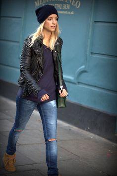 Cos Beanie, Muubaa Jacket, Zara Jeans, Zara Jumper, Isabel Marant Sneakers, Proenza Schouler Bag