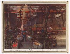 Tekening 'Het weven van wollen AaBe dekens op Jacquard Weefmachines'. Kalender uit 1941.
