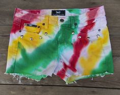 Red Yellow and Green Dyed and Studded Rasta Colored Shorts by CheyennesAccessories, $26.00