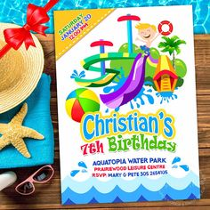 WATERPARK Party Invitation Water Slide Invitation Water Park