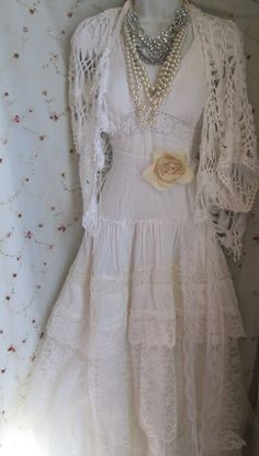Ivory boho wedding dress tiered lace vintage cotton tulle bride outdoor  romantic small by vintage opulence on Etsy