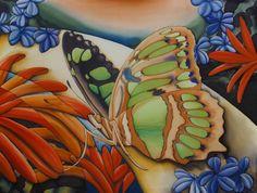 "Butterfly Panel #6, ""Malachite"",  42 x 48 inches by Pamela Glose.  www.MySilkArt.com"