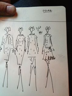sketched at the oscar de la renta show by Vanity Fair editor Michael Carl