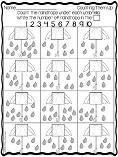 Umbrella Worksheet: Count the Raindrops Under Each Umbrella (free; from Mary at Sharing Kindergarten via Freebielicious)