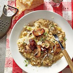Winter Mushroom Risotto | Remember, the key to a creamy risotto is to stir, stir, stir. All that action releases the rice's natural starches, which make the sauce thick and velvety.