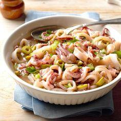 Calamari Salad Calamari Recipes, Seafood Recipes, Italian Fish Recipes, Italian Foods, Italian Dishes, Seven Fishes, 7 Fishes, Italian Olives, Italian Salad