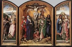 1495-1501  Oak, 107 x 80 cm (central panel), 107 x 34 cm (each wing)  Wallraf-Richartz-Museum, Cologne, Germany Flanking the usual figures in the Crucifixion scene are St. Jerome on the left (lion, red cape, church model) and St. Thomas on the right (T-square in hands). The left panel has St. John the Baptist (in animal skins, with lamb) and St. Cecilia (organ). The right panel has St. Alessio (identified by the Web Gallery of Art) and St. Agnes (lamb at feet, palm branch in right hand).