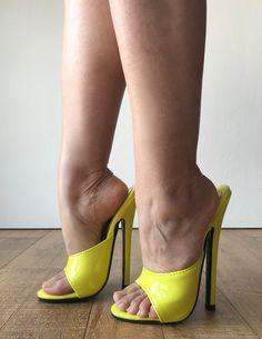 Sexy Mistress Hi Heel Stiletto Fetish Slipper Slides image 5 Stilettos, Stiletto Heels, Sexy Legs And Heels, Hot High Heels, Beautiful High Heels, Gorgeous Feet, Mules Shoes, Heeled Mules, Extreme High Heels