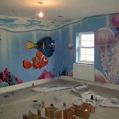 Disney Pixar Finding Nemo bedroom Graffiti Art by Graffiti Kings Artist, go to www.graffitikings.co.uk for more Street Art, Stencil Art & Graffiti Art.
