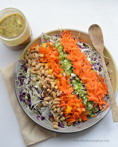The only kitchen skills you need for this Chopped Asian Peanut Salad are chopping ingredients and shaking salad dressing! Salad Dressing Recipes, Pasta Salad Recipes, Healthy Salad Recipes, Vegetarian Recipes, Vegetable Recipes, Clean Eating Recipes, Healthy Eating, Cooking Recipes, Diet Recipes