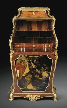 AN EXCEPTIONAL LOUIS XV GILT BRONZE MOUNTED AND JAPANESE SECRETARY Tulipwood LACQUER, STAMPED IFDUBUT, CIRCA 1750