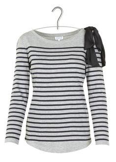 Tee-shirt marinière avec noeud Tina Gris by CLAUDIE PIERLOT