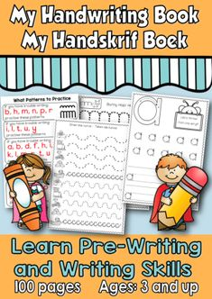 100 Pages This book contains 100 pages to practice pre-writing skills to help the learner with developing his/her handwriting skill. Pre Writing, Writing Skills, Handwriting Books, Pencil Grip, Muscle Memory, Letter Formation, Grade 2, Afrikaans, My Books