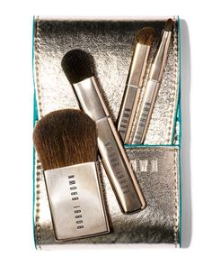Bobbi Brown Desert Twilight Mini Brush Set  Perfectly packable in a metallic, faux-leather fold-over case#151;whether you're headed out of town or just a night on the town. Our Mini Brush Set features full-sized brush heads atop shortened handles in a new slimline design (for a flawless finish wherever you go)