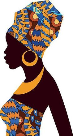 Silhouette of African girls in bright colored turban - Royalty-free Afrika kültürü Vector Art African Girl, African American Art, African Women, African Violet, African Colors, Black Art, Black Women Art, Art Women, Afrika Tattoos
