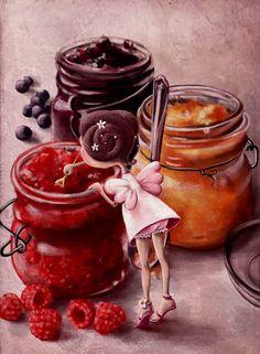 """Jam fairy"" by Elina Ellis Children's Book Illustration, Food Illustrations, Illustration Children, Animiertes Gif, Whimsical Art, Cute Art, Food Art, Fantasy Art, Cooking"