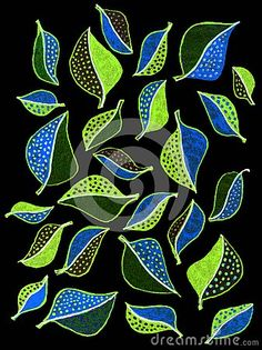 A free hand gel pen drawing of many pretty, colorful small leaves on a black background, Small Leaf, Gel Pens, Black Backgrounds, Leaves, Colorful, Abstract, Drawings, Pretty, Artwork