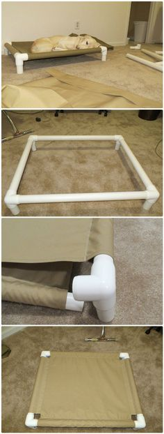 DIY PVC Pipe Dog Cot - 48 DIY Projects out of PVC Pipe You Should Make unique spin on a traditional dog bed! Dog Cots, Pvc Pipe Projects, Pvc Pipe Crafts, Diy Projects Recycled, Diy House Projects, Welding Projects, Diy Dog Bed, Pet Beds Diy, Diy Stuffed Animals