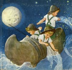 Wynken, Blynken and Nod; My mother used to read her book with these beautiful illustrations.  I loved Wynken, Bynken and Nod.  Always made me sleepy.