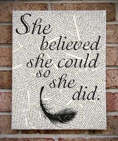 "Quote Wall Art: ""She Believed She Could So She Did"" Inspirational Canvas Art"