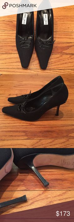 🎉sale🎉Jimmy Choo black heels Authentic Jimmy Choo heels. Beautiful pair of black pumps with a lace up detail. 3 inch heels.  Size European 38. Worn a few times. Black numerical marking on bottom from sale. Additional pictures as requested. Jimmy Choo Shoes Heels