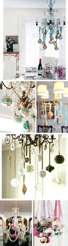 holiday decorated chandeliers