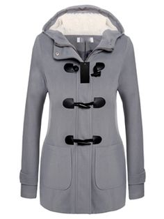 Ericdress Classical Horn Button Hooded Coat