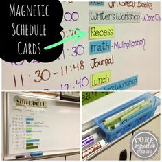 Magnetic schedule cards and other time saving tips for your classroom from Core Inspiration.