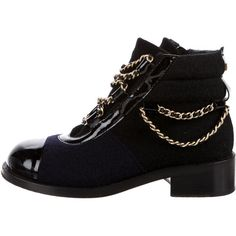 Pre-owned Chanel Paris-Salzburg Ankle Boots (11.860.625 IDR) ❤ liked on Polyvore featuring shoes, boots, ankle booties, black, lace-up bootie, black booties, short black boots, black patent booties and ankle boots
