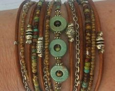 Unique Wrap Bracelet - Best Turquoise Bracelet - Modern Rustic Wrap - Best Womans Bracelet -BurningMan Style - Best Friend Wrap