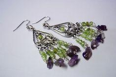 Earrings Natural Gemstone Healing Crystal Amethyst Peridot Drop Hook Chandelier #Chandelier
