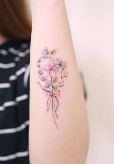 40 stylish tattoos by Awesome Tattoo Artist Mini Lau - tattoo - . - 40 stylish tattoos by Awesome Tattoo Artist Mini Lau – tattoo – - Flower Wrist Tattoos, Ribbon Tattoos, Mini Tattoos, Body Art Tattoos, New Tattoos, Small Tattoos, Gorgeous Tattoos, Pretty Tattoos, Creative Tattoos