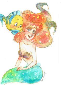 Oil Paint: Ariel and Flounder