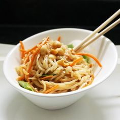 Shirataki (no-carb, no-calorie noodles) and veggies drenched in a delicious homemade peanut sauce.