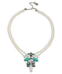 Ben-Amun Silver Crystal Turquoise and Pearl Deco Pendant Necklace #maxandchloe
