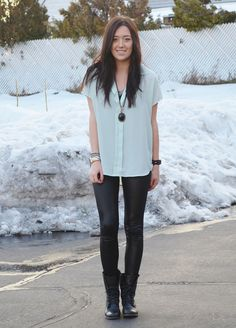 black skinny pants + blouse