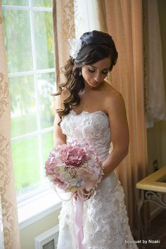 Mauve peony and garden rose brooch bouquet -- deposit on a made-to-order wedding bouquet