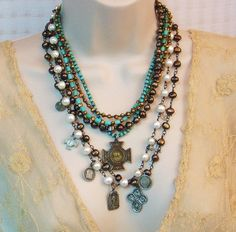 Religious Jewelry - Vintage Catholic Saint Medals, sterling silver cross, freshwater pearls - Pearls of Wisdom by Lorelei Designs