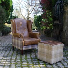 Julius Armchair & Caesar Cube Footstool from Curiosity Interiors, made with leather & wool fabrics in a tartan, tweed pattern. Winged Armchair, Leather Footstool, Patterned Armchair, Outdoor Dining Chairs, Wing Chair, Swinging Chair, Occasional Chairs, Upholstery, Living Room