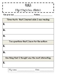 This is a great nonfiction graphic organizer for younger grade levels.  Easy for students to use independently and great for varying levels of abil...