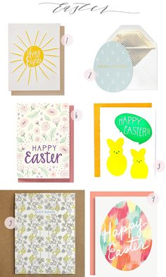 #Easter Card Round-Up: http://ohsobeautifulpaper.com/2015/03/seasonal-stationery-easter-cards-3/ | 1. Thimblepress; 2. Sugar Paper; 3. 9th Letter Press; 4. Paper Source; 5. Egg Press; 6. Hennel Paper Co. | Click through for full links and resources!